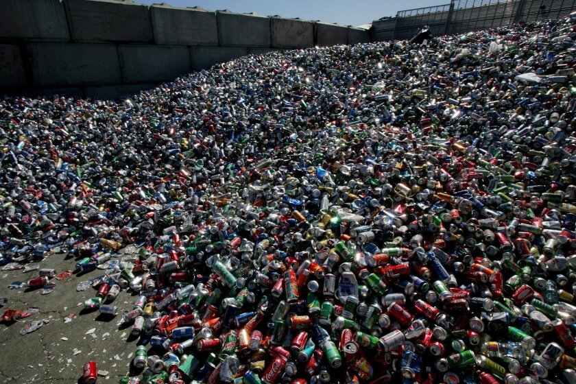 A mountain of aluminum cans at the recycling facility at the Miramar Landfill.