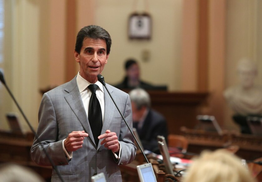 State Sen. Mark Leno, D-San Francisco, urges lawmakers to approve his measure requiring electronics manufacturers to install a shut-off function in all smartphones manufactured and sold after July 2015,  at the Capitol  in Sacramento, Calif., Thursday May 8, 2014.  The bill, SB962, which fell two v