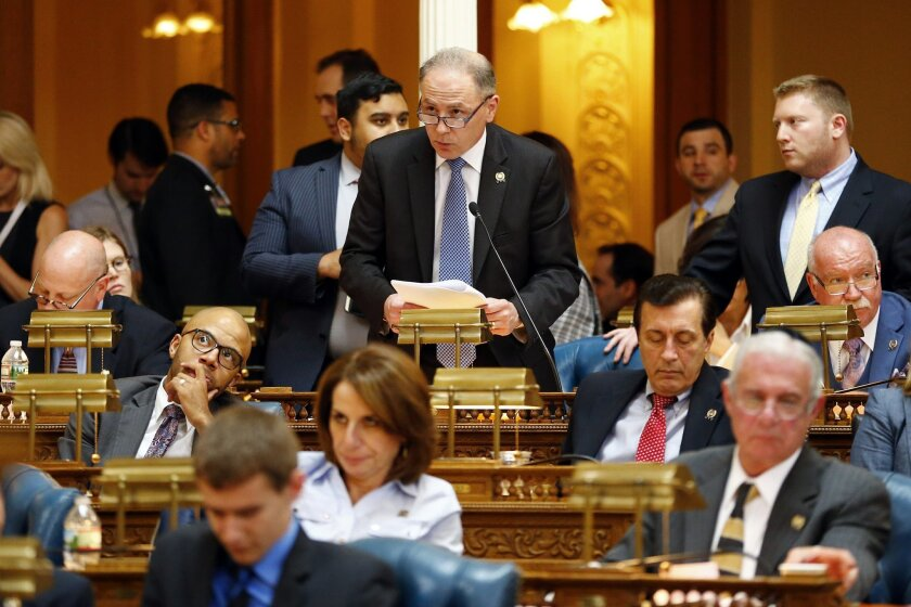 New Jersey Sen. Vincent Mazzeo, D-Northfield, speaks to members of the assembly, Thursday, May 26, 2016, in Trenton, N.J. Lawmakers have sent Gov. Chris Christie a package of bills to keep Atlantic City from running out of cash. (AP Photo/Julio Cortez)