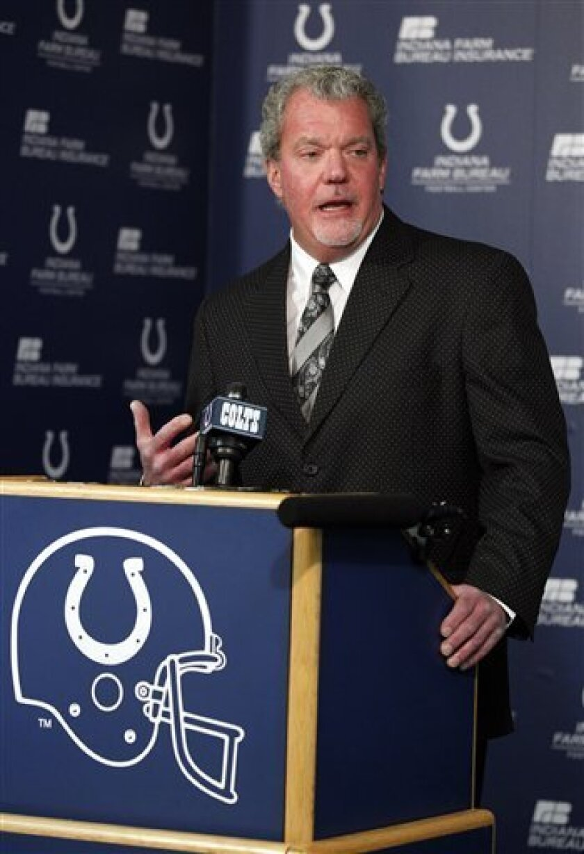 Indianapolis Colts owner Jim Irsay announces that Colts have fired vice chairman Bill Polian and general manager Chris Polian during a press conference at the NFL football team's practice facility in Indianapolis, Monday, Jan. 2, 2012. The Colts finished the season with a 2-14 record. (AP Photo/Michael Conroy)