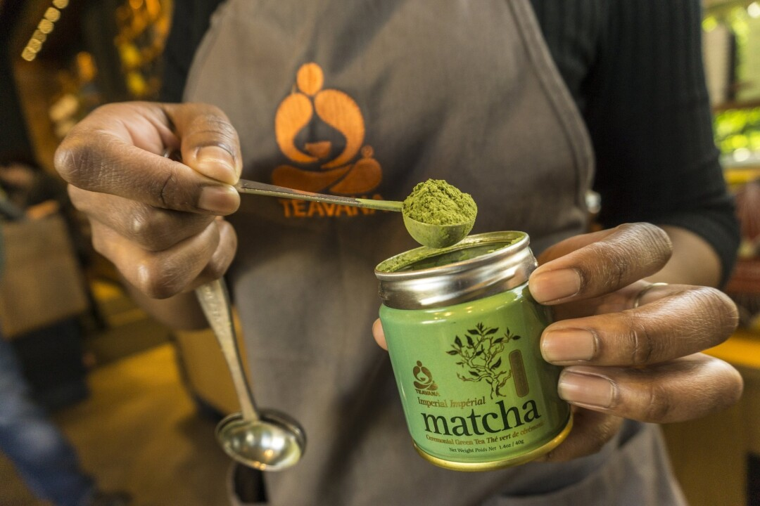 A barista prepares matcha tea at Teavana Fine Teas + Tea Bar in Beverly Hills.