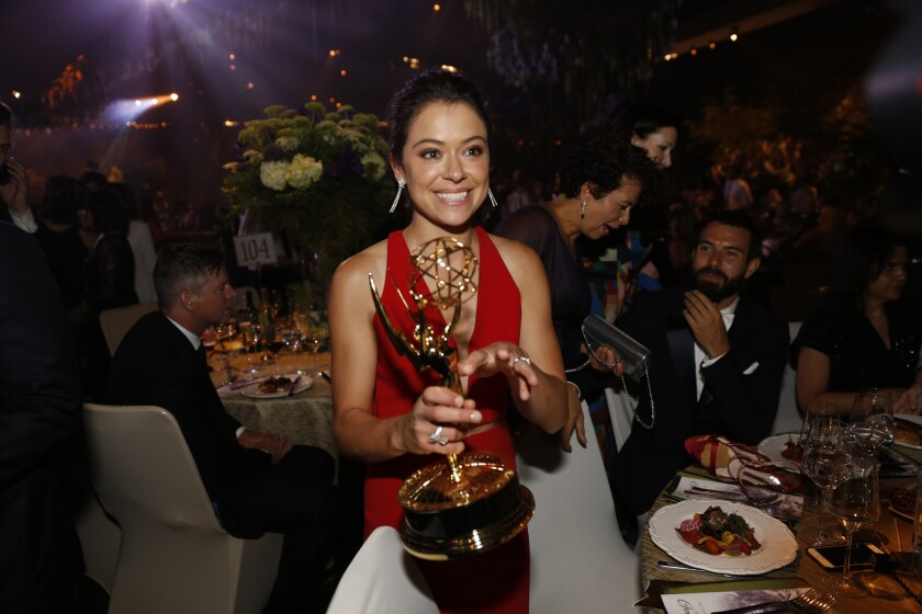 Tatiana Maslany at the Governors Ball after the 68th Primetime Emmy Awards at the Microsoft Theater in Los Angeles.