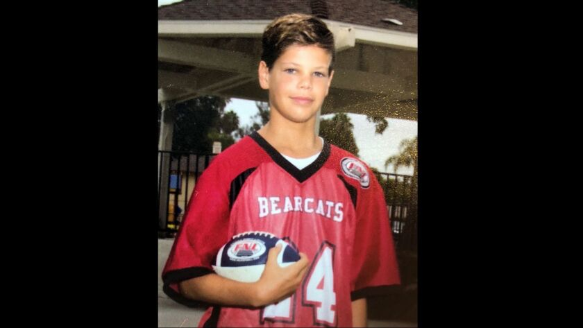 Photo released by the family of 13 year-old boy who was attacked by a shark Saturday near Beacon's Beach in Encinitas.
