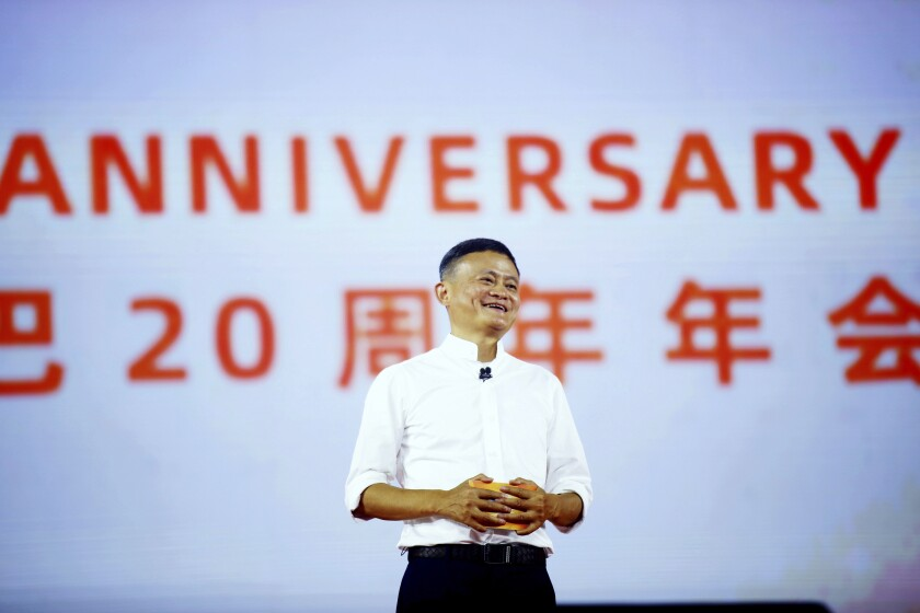 FILE - In this Sept. 10, 2019 file photo, Jack Ma, founder of the Alibaba Group, speaks at the company's 20th-anniversary celebration in Hangzhou in eastern China's Zhejiang province. A survey shows Jack Ma, founder of e-commerce giant Alibaba, held onto his status as China's richest entrepreneur as the coronavirus shutdown propelled demand for online shopping and other services. (Chinatopix via AP, File)