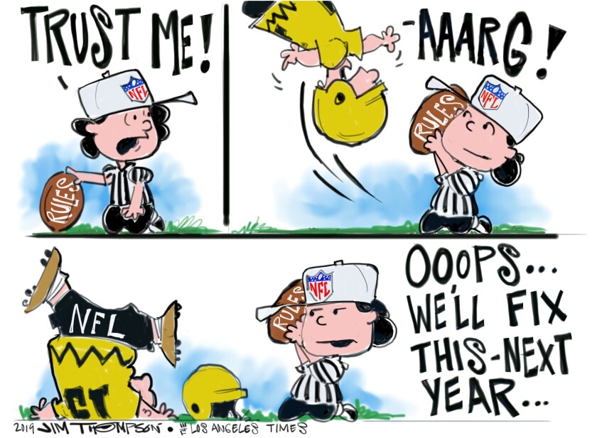 NFL football cartoon on rules.