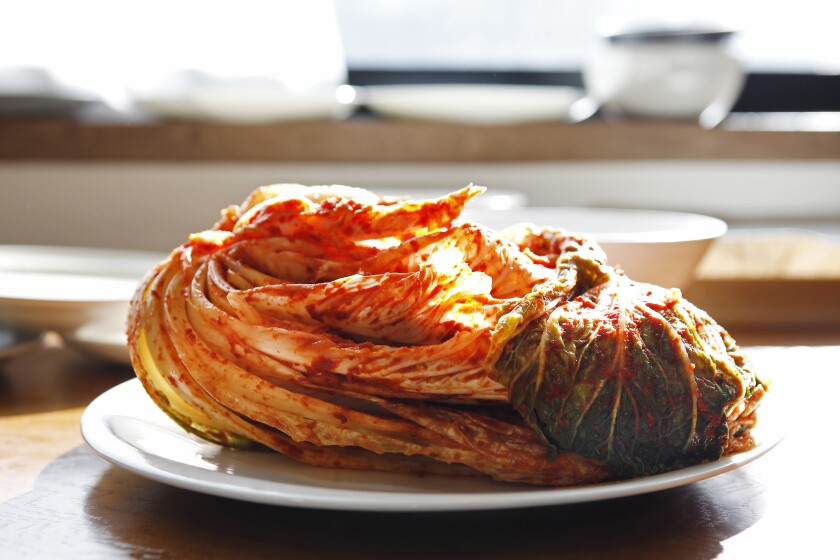 Kimchi, North Korean style, is ready for fermentation in Jessie Kim's cooking class in Seoul in November.