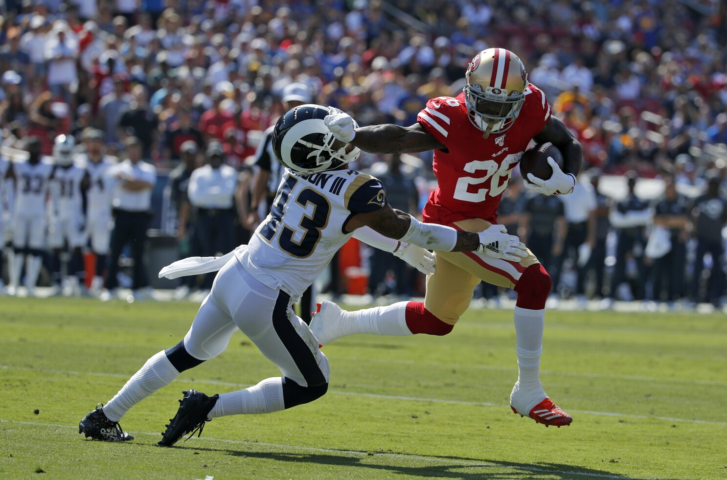 Column: The Niners are back: Still unbeaten after D dominates Rams