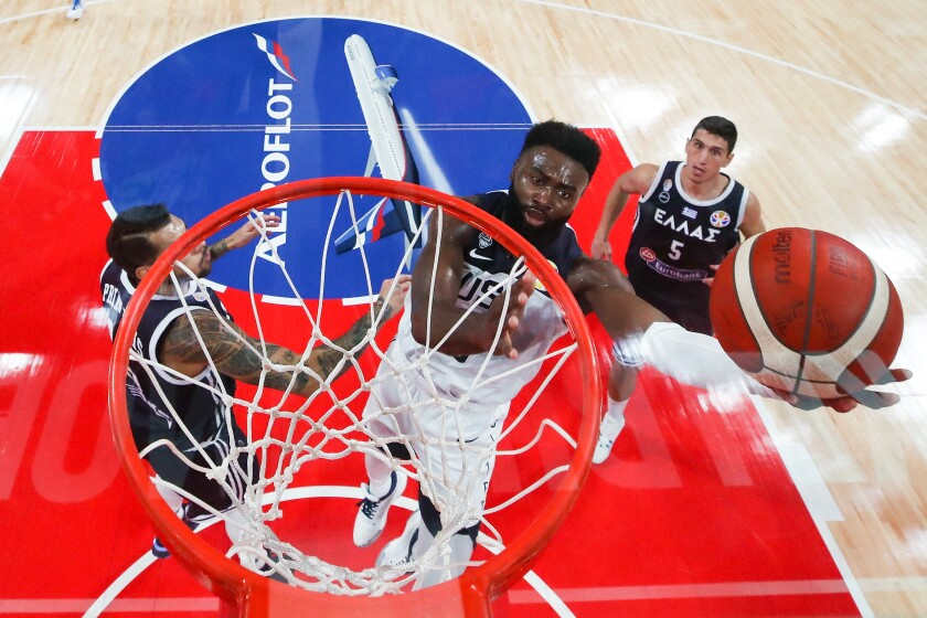 U.S. forward Jaylen Brown drives for a layup against Greece on Saturday in a FIBA World Cup game.