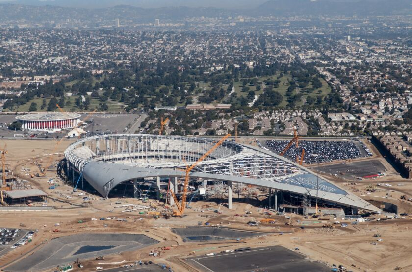 Aerial view of SoFi Stadium, still under construction, future home of the Rams and Chargers in Inglewood, on Oct. 23.