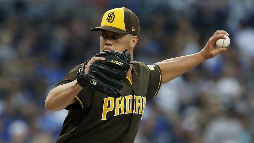 San Diego Padres starting pitcher Clayton Richard works to a Chicago Cubs batter during the second i