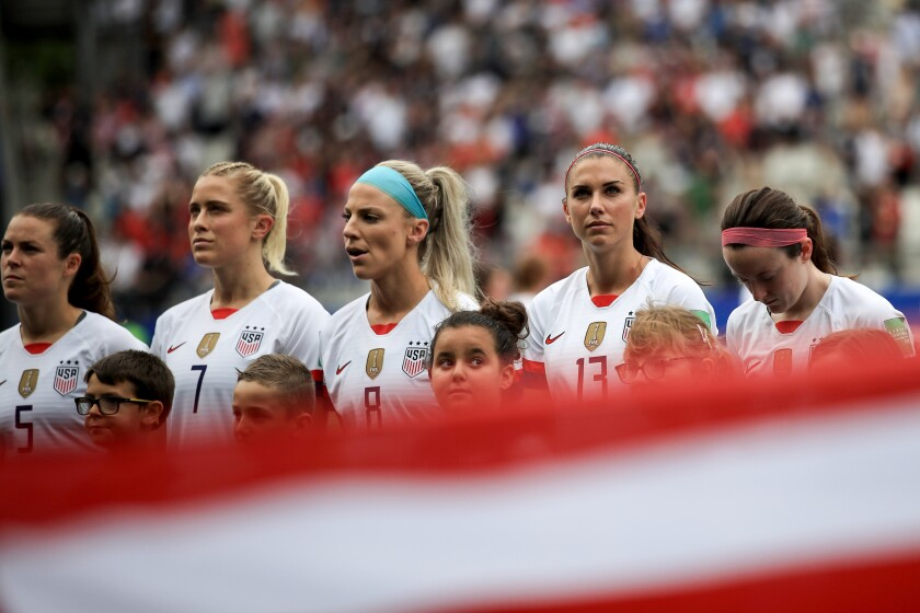 U.S. women's national team players (from left) Kelley O'Hara, Abby Dahlkemper, Julie Ertz, Alex Morgan and Rose Lavelle.