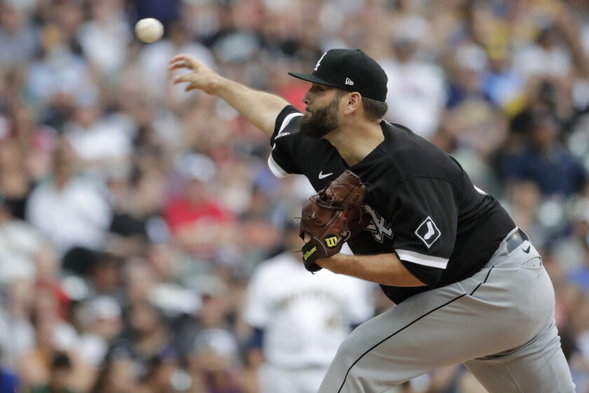 Chicago White Sox's Lance Lynn pitches during the first inning of a baseball game against the Milwaukee Brewers Sunday, July 25, 2021, in Milwaukee. (AP Photo/Aaron Gash)