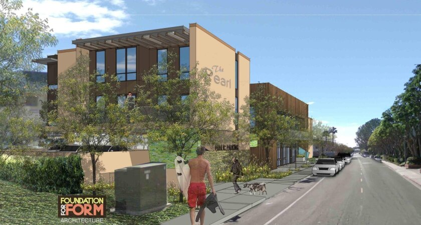 The original rendering of the proposed affordable-housing complex in Solana Beach, called The Pearl.
