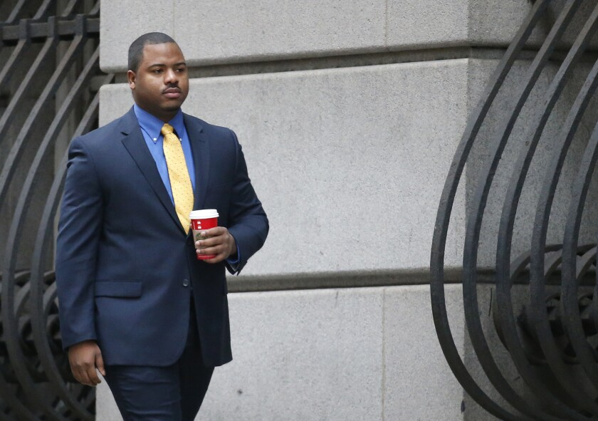 William Porter, one of six Baltimore police officers charged in connection with the death of Freddie Gray, arrives at the courthouse on Nov. 30.