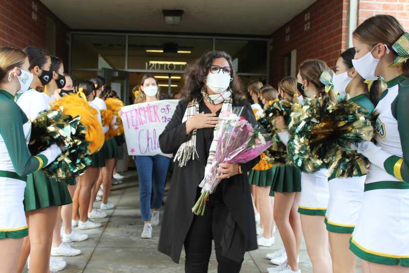 Edison High School teacher Lori Chlarson was honored with a celebration on campus Tuesday.