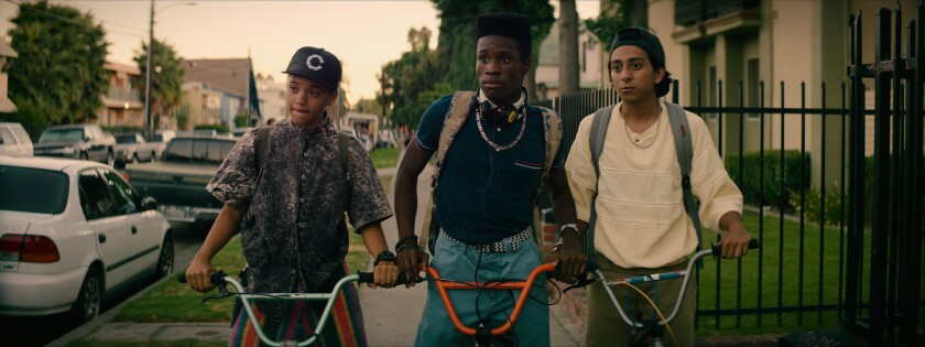 """Kiersey Clemons, from left, Shameik Moore and Tony Revolori in """"Dope."""""""