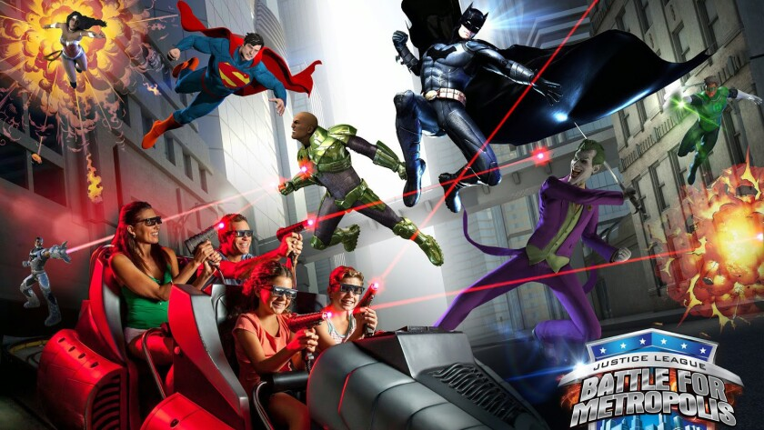 Themed to a crime-fighting team of DC Comics superheroes, new Justice League dark rides will feature motion-platform vehicles and laser gun gameplay.