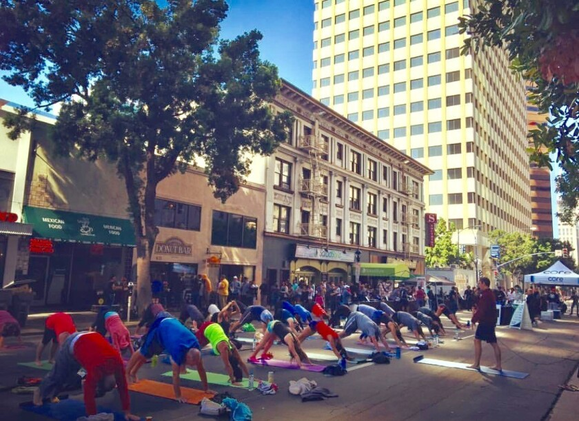 Core Sessions is a workout event hosted on B Street between Sixth and Seventh avenues in downtown San Diego. (Courtesy photo)