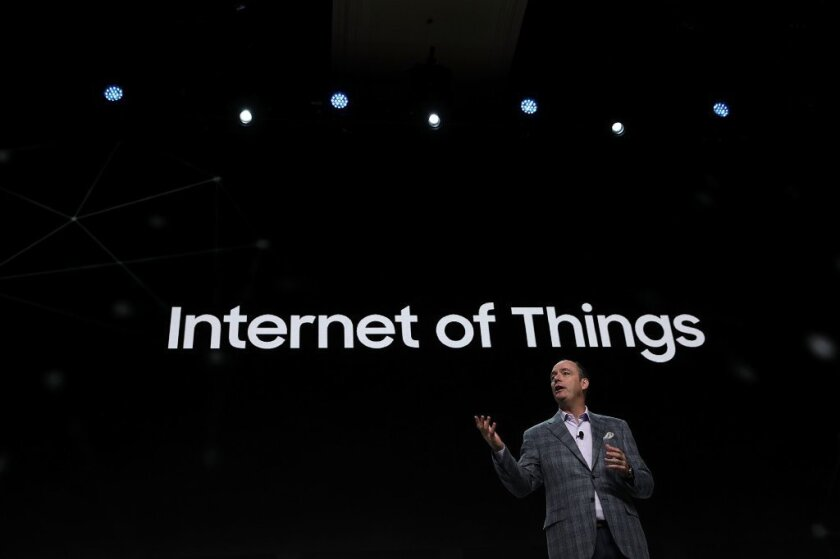 Tim Baxter, president and chief operating officer of Samsung Electronics America, speaks about the Internet of Things during the Consumer Electronics Show in January in Las Vegas.