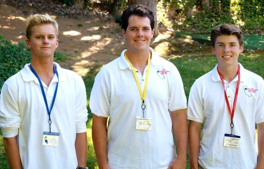 Nick Vanstrum, Michael Penny and Jack Kimmel of La Jolla American Legion Post 275 take part in the National American Legion Program for Boys State in Sacramento.