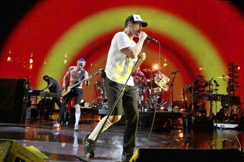 The Red Hot Chili Peppers perform at Staples Center.
