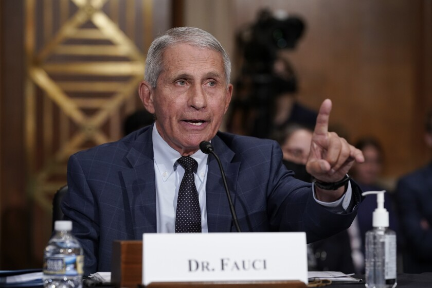 Dr. Anthony Fauci sits at a table with his name on a card and speaks into a microphone