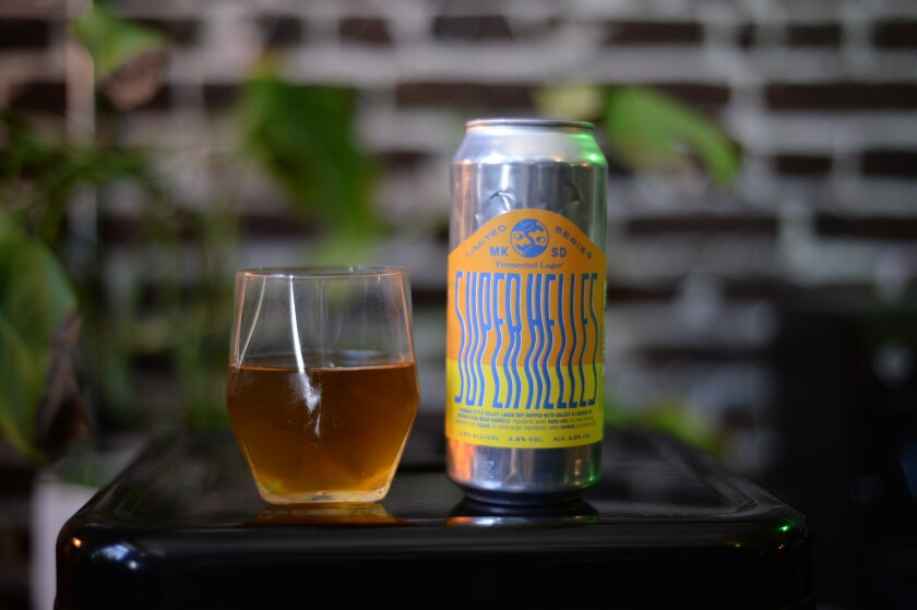 Super Helles is a limited series, German-style lager from Mikkeller Brewing San Diego.