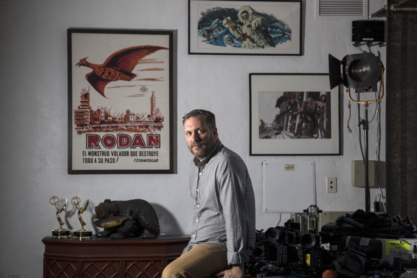 HOLLYWOOD, CALIF. -- WEDNESDAY, APRIL 18, 2018: Film maker Rob Schroeder sits for a portrait at his