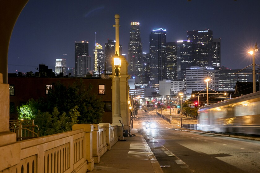 The U.S. Bank Tower, center, amid the Los Angeles skyline