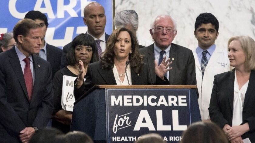 Sen. Kamala Harris speaks about the Medicare for All Act of 2017 alongside other U.S. senators and supporters of the proposal in Washington on Sept. 13, 2017.
