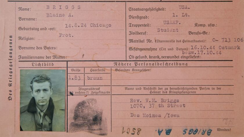 Photo of a German document obtained by Blaine Briggs that details his capture as a POW during World War II.