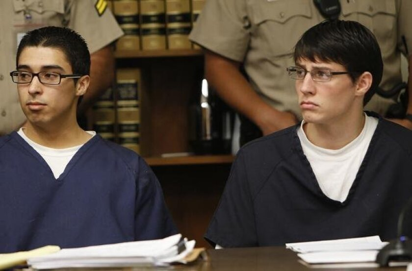 Esteban Nunez, left, and Ryan Jett listen to victim impact statements in from the family of Luis Santos on Friday, June 25, 2010.