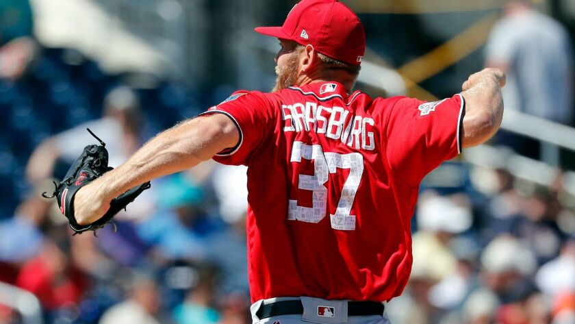 Washington Nationals starting pitcher Stephen Strasburg throws during the second inning of an exhibi
