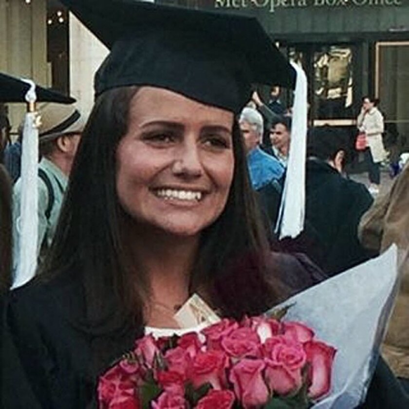 This May 2015 family photo shows Sascha Pinczowski at her graduation from Marymount Manhattan College in New York. Belgian authorities and the Dutch Embassy positively identified the remains of Pinczowski and her brother, Alexander Pinczowski, who died in the terrorist bombings in Brussels. (Courtesy of the family via AP)