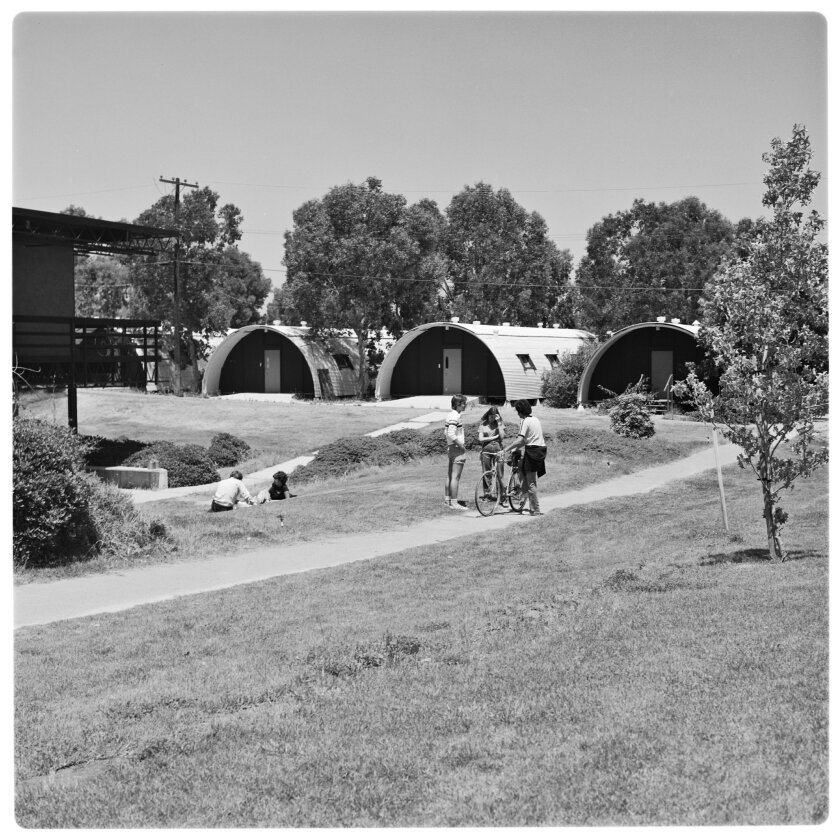 Quonset huts, a legacy of UCSD's military history, were once a common sight on campus. UCSD