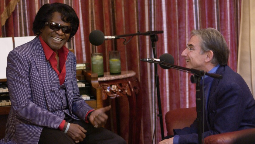 """Michael Tilson Thomas with  James Brown in a moment captured in a PBS """"American Masters"""" doc on Tilson Thomas."""