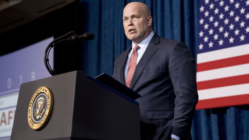 Acting Atty. Gen. Matt Whitaker speaks before introducing President Trump at an appearance in Kansas City, Mo., on Dec. 7.