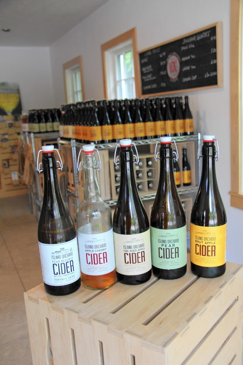 Cider made from locally grown apples and pears is produced and sold at Island Orchard Cider in Ellison Bay.