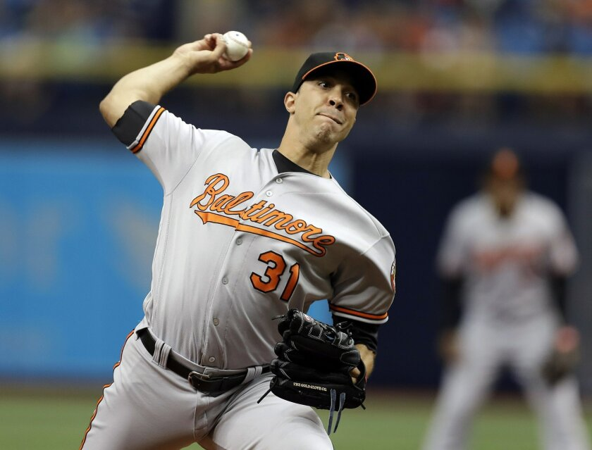 Baltimore Orioles' Ubaldo Jimenez pitches to the Tampa Bay Rays during the first inning of a baseball game Monday, Sept. 5, 2016, in St. Petersburg, Fla. (AP Photo/Chris O'Meara)