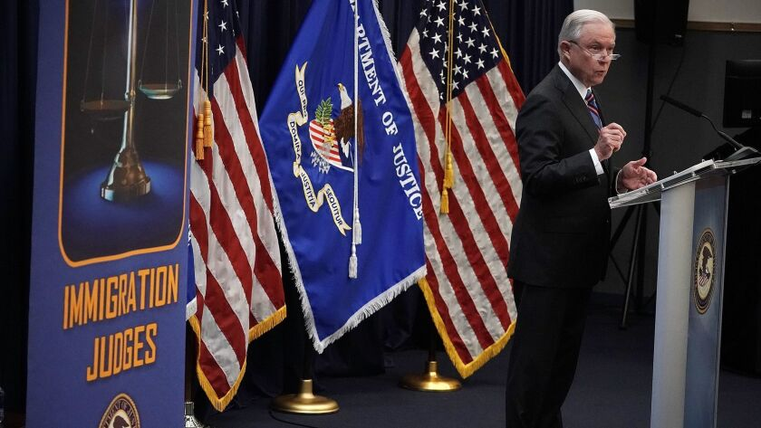 U.S. Atty. Gen. Jeff Sessions makes remarks to incoming immigration judges for the Executive Office for Immigration Review on Sept. 10 in Falls Church, Va.