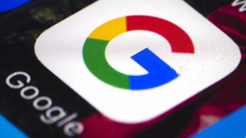 FILE - This Wednesday, April 26, 2017, file photo shows the Google mobile phone icon, in Philadelphi