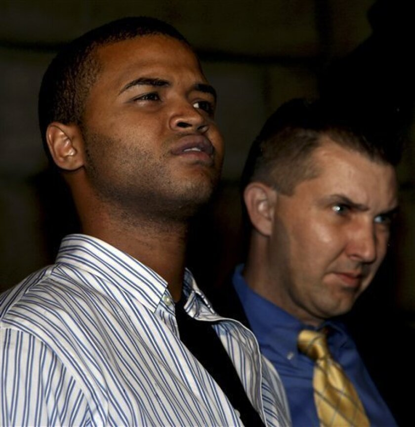 Ruddy Vargas-Perez, 22, the ninth and final suspect in a gang related hate crime, is led from the Bronx Borough detective headquarters after he was arrested Monday, Oct. 11, 2010 in New York. (AP Photo/Craig Ruttle)