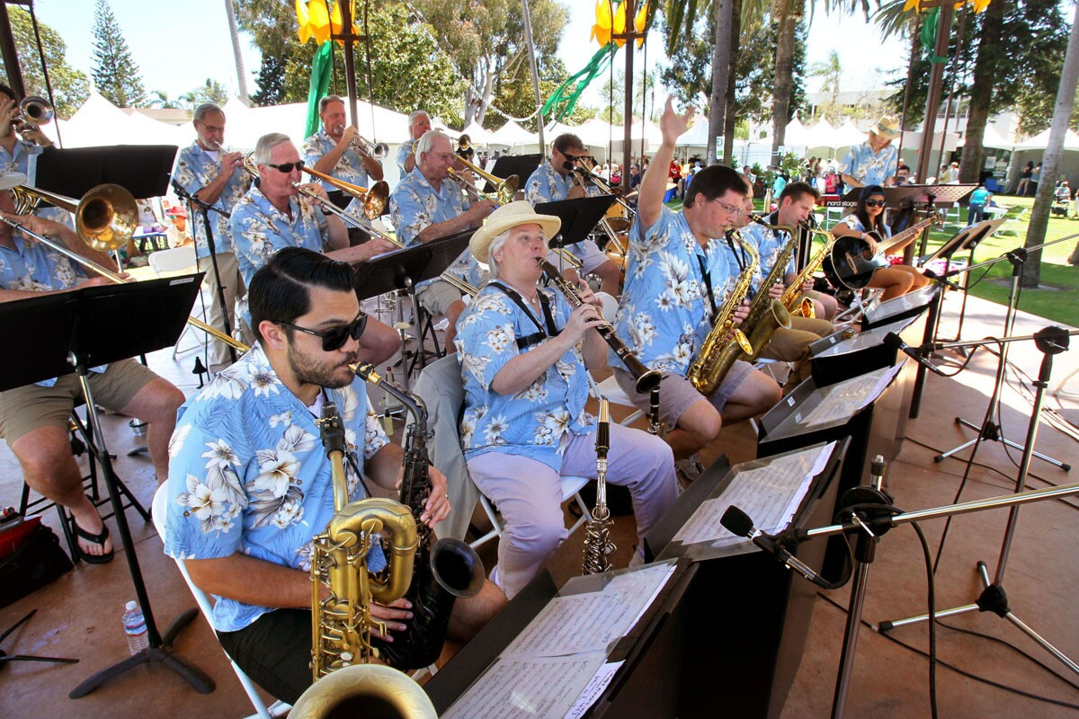 The Coronado Big Band performs on the gazebo at the Coronado Flower Show at Spreckels Park.