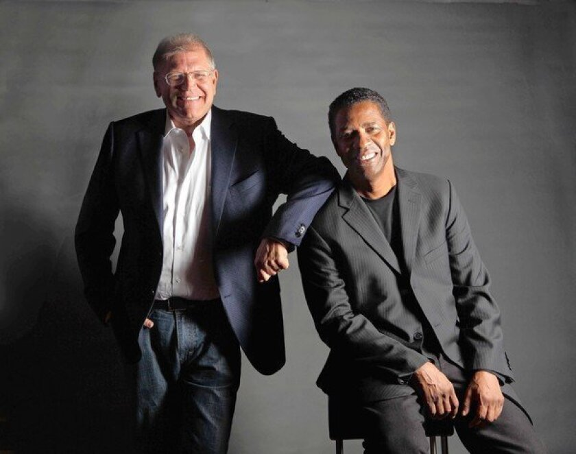 """Director Robert Zemeckis, left, and actor Denzel Washington worked on the new movie """"Flight."""""""