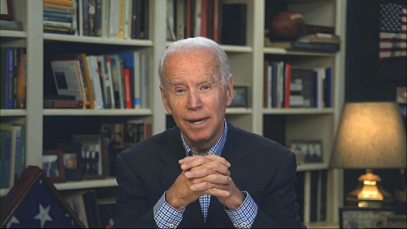 Joe Biden speaks during a virtual news briefing in March.