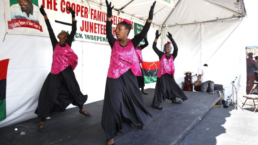 June 19, or Juneteenth, celebrates the end of slavery and is celebrated in San Diego with a day organized by the Cooper Family Foundation with food, music and entertainment.
