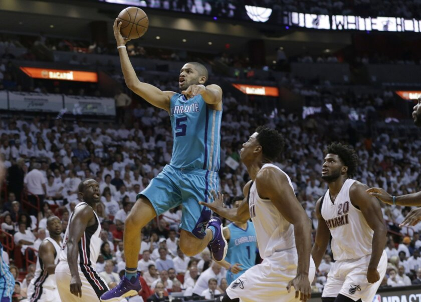 FILE - In this April 17, 2016 file photo, Charlotte Hornets guard Nicolas Batum (5) drives to the basket as Miami Heat center Hassan Whiteside, center, and forward Justise Winslow (20) look on during the first half of an NBA basketball game in Miami.  Batum agreed to terms on a five-year, $120 mill