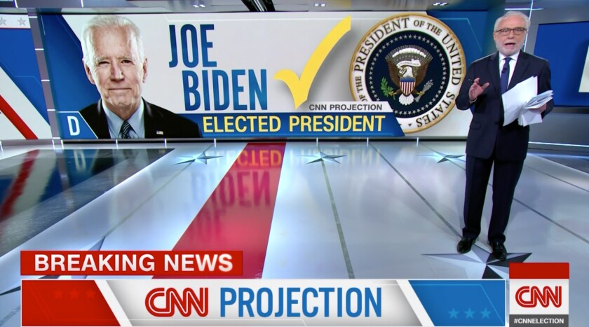 CNN anchor Wolf Blitzer calls the election for former Vice President Joe Biden.