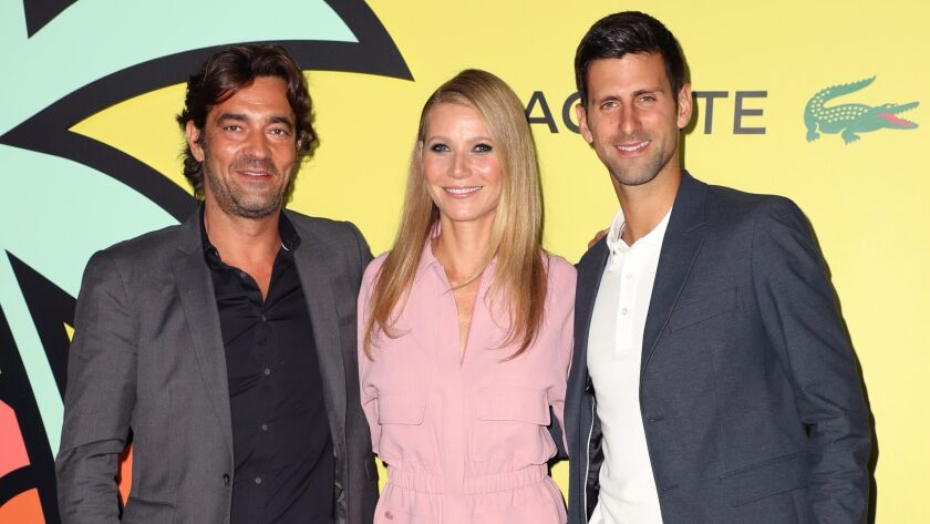 Thierry Guibert, Gwyneth Paltrow and Novak Djokovic Lacoste reopening celebration, Arrivals, Los Angeles,
