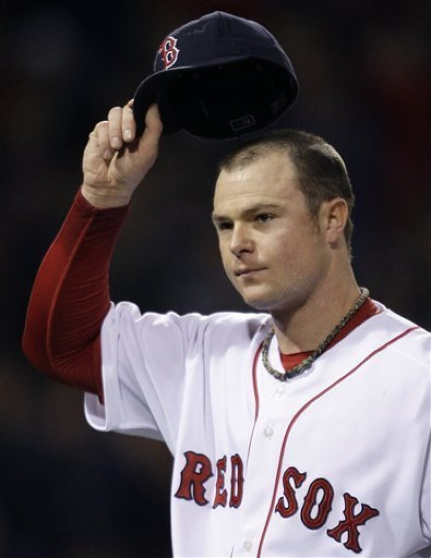 Boston Red Sox starter Jon Lester tips his cap to the crowd as he leaves during the seventh inning against the Cleveland Indians inning during a baseball game at Fenway Park in Boston, Thursday, Oct. 1, 2009. Lester gave up no runs pn two hits in his outing. (AP Photo/Charles Krupa)